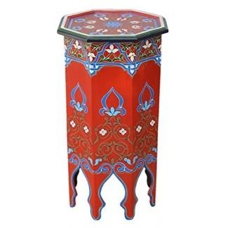 Moucharabi Madera pintada Madera marroquí Mesita auxiliar Esquina Café Hecho a mano Pintado a mano Moorish Tall Red