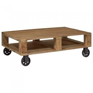 """Mesa de centro industrial de madera Stone & Beam, 51 """"An., Natural"""