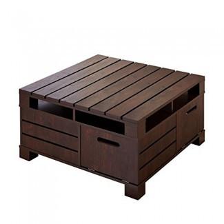 Muebles de América Mesa de centro de almacenamiento cuadrada Bartoll en nogal