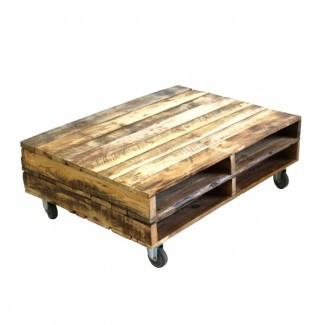 Mesa de centro de paletas de madera con ruedas - Recreate