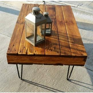 Mesa de centro de paletas de castaño con 2 cajones | Muebles de paleta