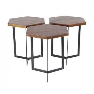 Juego de mesa de café hexagonal de 3 piezas para decoración contemporánea de Gales