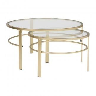 Juego de mesa de café Corbel de 2 piezas con anidamiento redondo