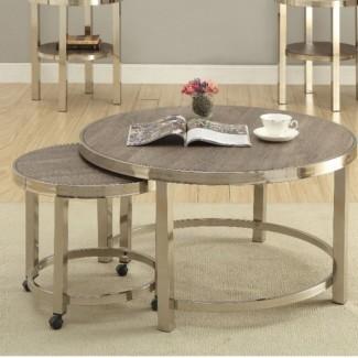 Juego de mesa de café de 2 piezas contemporáneo de metal y madera de 2 piezas