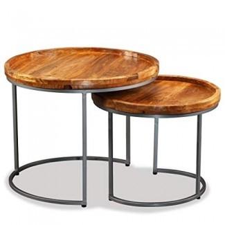 Festnight Set de 2 mesas laterales de madera anidadas con forjado Patas de hierro Mesa de centro redonda apilable industrial para muebles de dormitorio para el hogar Ahorro de espacio en el hogar