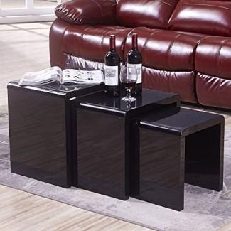 Juego de mesa de café Mecor Nesting, mesa lateral de café de 3 piezas con negro brillante para sala de estar (juego de 3, MDF)