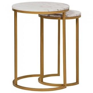 Mesa auxiliar circular con remache de mármol moderno y oro, juego de 2, mármol / oro