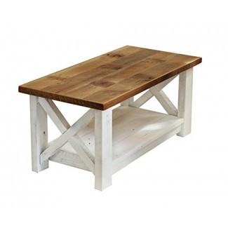 Mesa de centro de granja con base blanca X hecha de madera recuperada