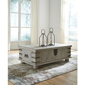 Ashley Furniture Signature Design T757-9 Carynhurst Lift Top Cocktail Ta ble White Wash Grey