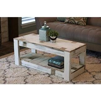 White Farmhouse Coffee Table with Shelf