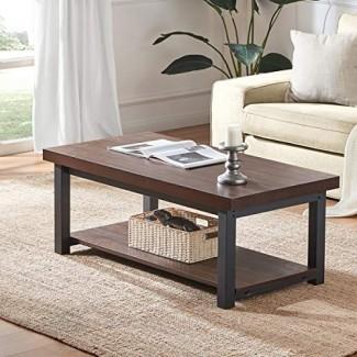 DYH Rustic Coffee Table, Wood and Mesa de cóctel rectangular de metal con estante para sala de estar, Farmhouse Vintage Espresso
