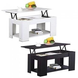 Yaheetech Grade E1 MDF y mesa de centro de elevación de hierro w / Compartimento de almacenamiento oculto y estante
