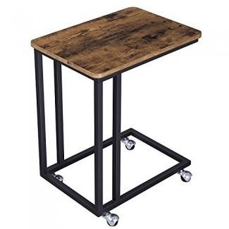 VASAGLE Mesa auxiliar vintage, extremo móvil Mesa para tableta portátil de café, diapositivas junto al sofá cama, muebles decorativos con aspecto de madera con marco de metal y ruedas enrollables ULNT50X