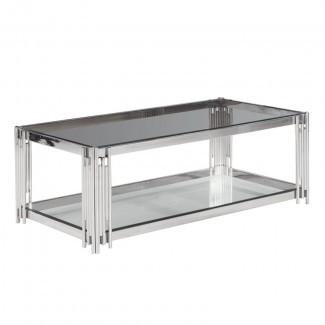 Mesa de centro con tapa de vidrio Clarkson de 2 niveles