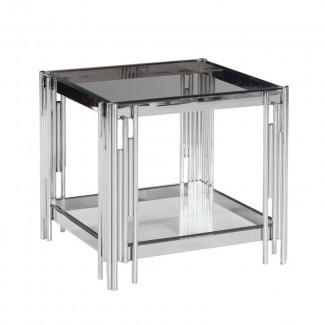 Mesa de centro Cleorand de metal / vidrio de 2 niveles