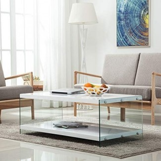LAGRIMA - Mesa de centro moderna con 2 neumáticos, mesa de sala rectangular blanca brillante, MDF y vidrio
