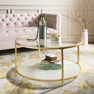 Safavieh COF6203A Home Collection Ivy Gold 2 Tier Round Coffee Table
