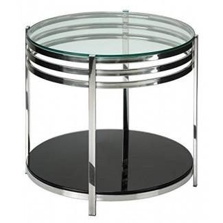 Cortesi Home Lavia Contemporary Mesa auxiliar de vidrio redondo de dos niveles