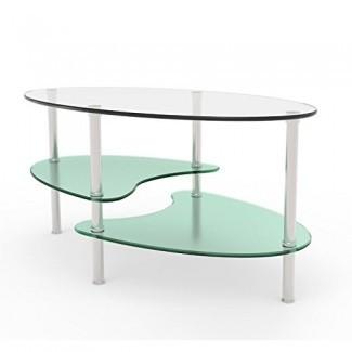 Mesa de centro de dos niveles con forma ovalada con diseño de vidrio esmerilado y vidrio transparente n Con Sparckling Stel Legs Be Chic Now