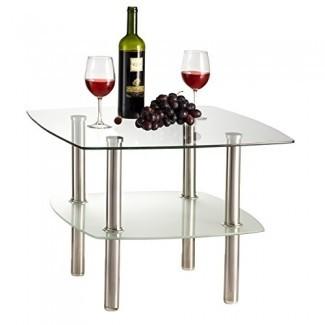 Mesa de centro de vidrio fino / mesa auxiliar de 2 niveles, tapa de vidrio y patas de metal plateado