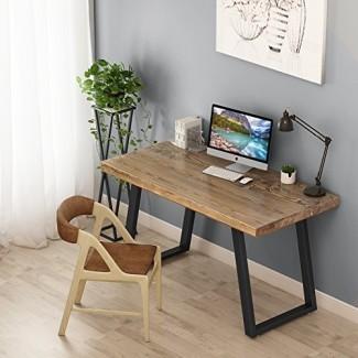"""Tribesigns Escritorio de computadora de madera maciza rústica de 55 """"con aspecto recuperado, Escritorio de oficina industrial vintage para el hogar Características Base de metal resistente Trabaja como escritorio o mesa de estudio"""