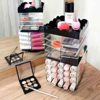 Organizador cosmético de maquillaje de lápiz labial de almacenamiento de paleta giratoria