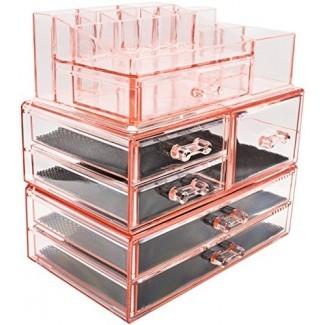 Sorbus Acrílico Cosméticos Maquillaje y almacenamiento de joyas Conjuntos de exhibición -Cajones entrelazados para crear su propio contador de maquillaje especialmente diseñado -Apilable e intercambiable