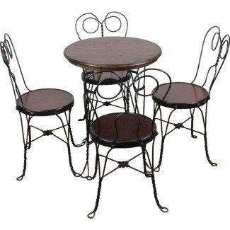 Mesa de heladería y cuatro sillas c. 1910 de