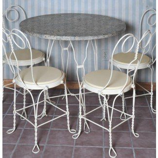 Marble Ice Cream Parlor Table and Chairs: EBTH