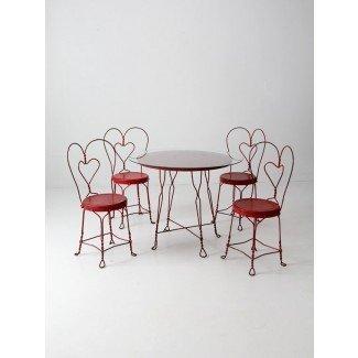 conjunto de mesa de heladería vintage con 4 sillas rojas