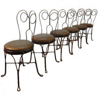 Conjunto de 6 sillas vintage de heladería en 1stdibs