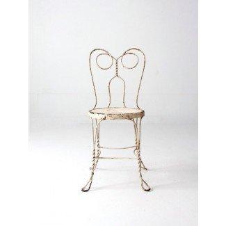silla de heladería vintage silla de café de hierro blanco metal