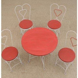 Juego de mesa y silla vintage para heladería de hierro forjado