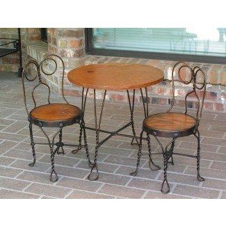 mesa y sillas antiguas de bistro - Antique Ice Cream Parlor