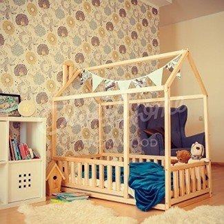 Cama doble para bebés, cama para bebés, cama para niños, casa de madera montessori, cuna interior para guardería, diseño de dormitorio para niños pequeños, habitación para niñas, con cerca
