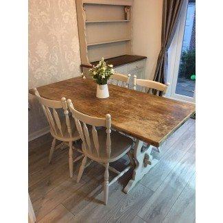 Shabby Chic - Mesa de comedor y sillas Farmhouse • £ 249.99 ...