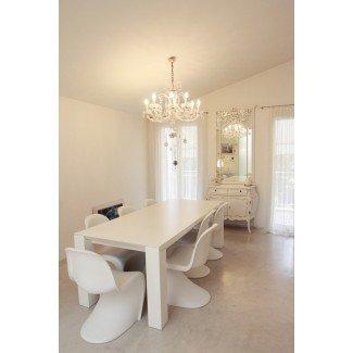 Magnífica mesa de comedor y silla blancas Shabby chic Dining Room