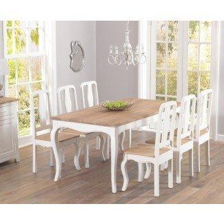 Mesa de comedor y sillas parisinas Shabby Chic de 175 cm | Jabberset