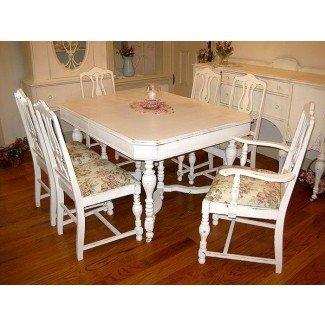Mesa de comedor: mesa de comedor Shabby Chic y sillas