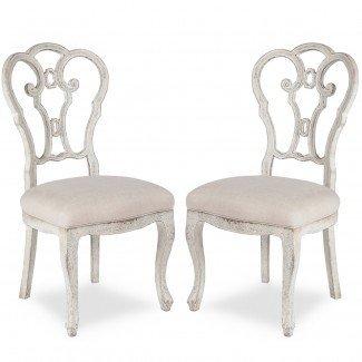 Vintage Shabby Chic Scroll Chairs - blanco desgastado