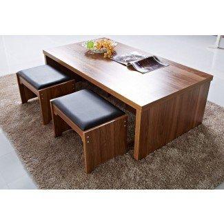 Mesa de centro, mesa de centro cuadrada con taburetes debajo ...