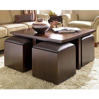 Mesa de centro con taburetes de almacenamiento | Ideas de diseño de mesa de café