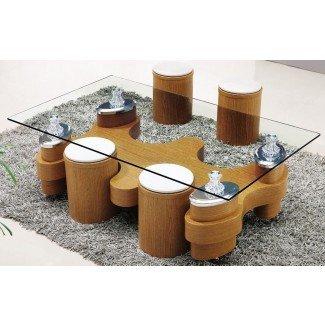 Mesa de centro de vidrio con taburetes | Ideas de diseño de mesas de café