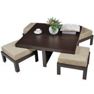 Mesa de centro, mesa de centro Cubik con 4 taburetes. Mesa de café ...