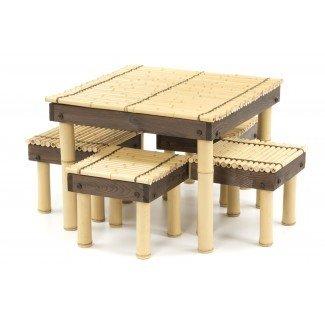 Mesa de café Zen Bamboo con cuatro taburetes