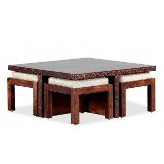 Mesa de centro Blaise con 4 taburetes - Furnspace