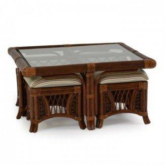 Mesa de centro: mesa de centro ajustable con taburetes cuadrados ...