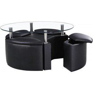 Mesa de centro negra con taburetes | Ideas de diseño de mesa de café