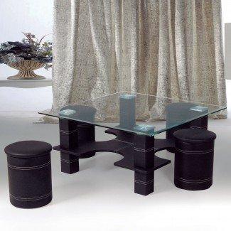 Mesa de centro con 4 taburetes anidados