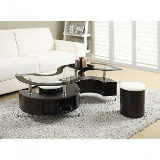 Coaster Furniture - Mesa de centro con taburete de vidrio y taburete